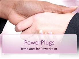Elegant presentation enhanced with two large hands having a handshake over a pink background