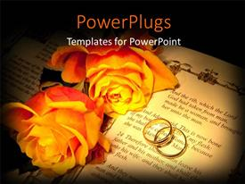 Beautiful presentation design with two large yellow flowers and an open book with rings on it
