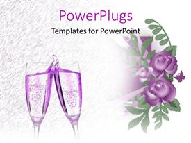 PPT layouts enhanced with two lavender champagne glasses next to purple flowers and butterfly