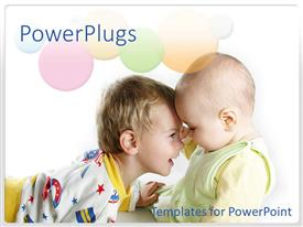 Theme featuring two little boys happily  playing on a white background