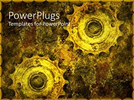 Beautiful slides with two old grunge gears in abstract background