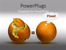 Presentation theme consisting of two oranges one with pealed skin and greyish background