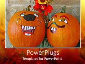 Audience pleasing presentation featuring two Painted Halloween pumpkins with a bunch of flowers