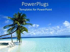 Beautiful PPT layouts with two palm trees on a white beach with chairs in blue ocean island as a metaphor