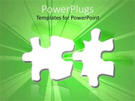 PPT theme enhanced with two parts of the jigsaw puzzle with green background