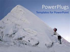 Theme having two people geared up to climb a snow covered mountain