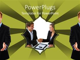 Beautiful presentation design with two people making a deal with colorful background