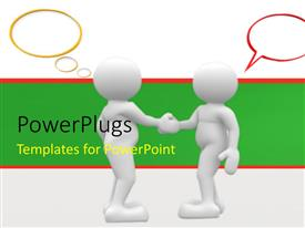 Colorful PPT theme having two 3D men shake hands with speech bubbles on white background