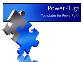 Beautiful PPT theme with two pieces of puzzle come together as a solution metaphor on a white background