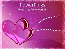 Beautiful PPT theme with two pink hearts in elegant pink background with white stars