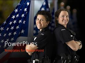 Colorful theme having two police officers with backs against each other and American flag in background