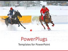 Presentation design consisting of two polo players playing a game on white snow