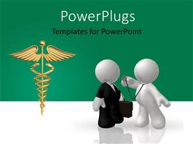 Colorful presentation having two professionals with a medical sign and greenish background