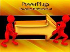PPT theme having two red figures carrying golden arrow