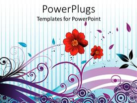Amazing presentation consisting of two red flowers with abstract style stems, leaves, and circles on blue striped background