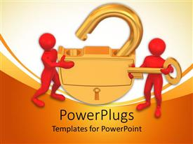 Elegant presentation theme enhanced with two red human figures opening a large golden padlock