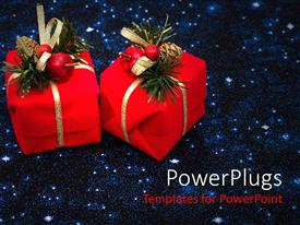 Presentation theme consisting of two red wrapped gifts with Christmas ornaments on them
