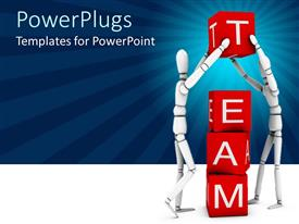 PPT theme enhanced with two robots creating the word team with the boxes