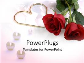 Theme with two roses with a heart symbol on a plain white surface