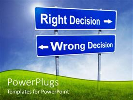 Amazing theme consisting of two sign posts with right decision arrow to right and wrong decision arrow to left
