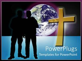 Slides featuring two silhouettes standing next to gold cross in front of planet with purple background