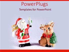PPT theme with two small santa clause and reindeer toys on white background