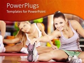 Beautiful PPT theme with two smiling women stretching, fitness, gym, aerobics, exercise, sports