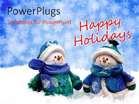 Beautiful PPT theme with two snowman spending holidays with a bluish background