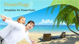 Beautiful PPT theme with happy young couple spend vacation at tropical beach with blue sky