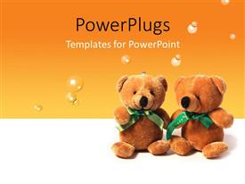 PPT theme enhanced with two teddy bears sitting on an orange colored background