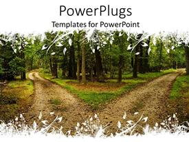 Elegant PPT theme enhanced with two terrain roads separated in different directions between forest trees, hiking trails in forest with floral white pattern top and bottom
