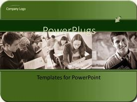 PPT layouts with two tiles of students in school reading and smiling
