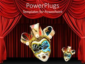 Elegant presentation enhanced with two Venetian masks on red theater curtains background, one large Venetian mask and one small Venetian mask