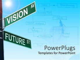 PPT theme with two way street sign vision and future planning business model