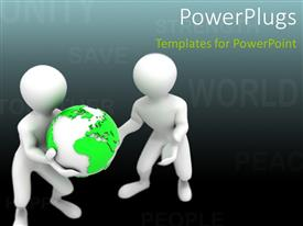Audience pleasing slides featuring two white 3D characters carrying a green earth globe