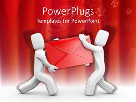 Presentation theme with two white 3D figures holding a large red envelope on white surface and red background