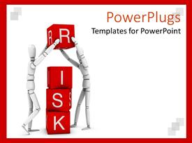 Slides consisting of two white 3D figures working in team to form the word risk written on red cubes