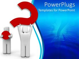 Presentation theme having two white colored 3D human characters holding a red question mark