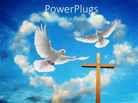 Amazing presentation theme consisting of two white doves flying over cross in heart shaped cloudy sky