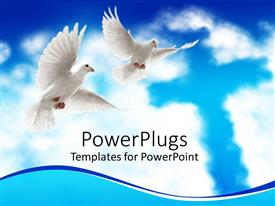 Slide deck enhanced with two white doves flying with wide open wings and cross in clouds on blue sky