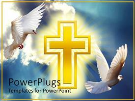 Colorful presentation having two white doves soaring high in clouds with yellow cross