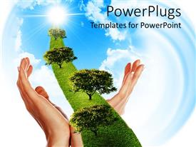 Amazing presentation theme consisting of two woman hands holding a line of green grass with trees going to sun through white clouds on bright blue sky
