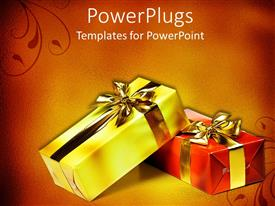 Slide deck enhanced with two wrapped gifts with bow in red and golden background