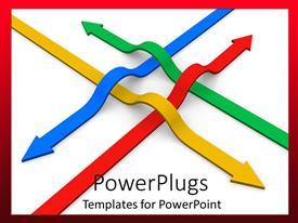 Beautiful PPT theme with a umber of arrows of different colors with white background