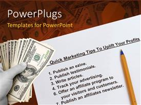 Presentation design featuring a umber of dollars with a number of tips in background