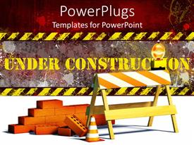PPT theme with under construction word with construction site barrier and bricks