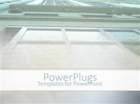 PPT theme featuring upside view of a tall building with lots of windows