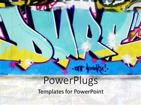 Beautiful PPT theme with urban graffiti wall in blue, yellow and pink