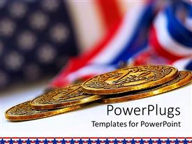 Presentation theme featuring uSA flag background with four gold medals in front, US financial power