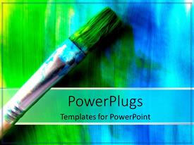Slide deck enhanced with used paint brush with green-blue bristles
